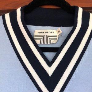 EUC Tory Sport Cotton V-Neck Sweater (Sz L)